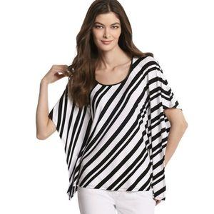 WHBM Poncho Black White Striped Shirt SMALL